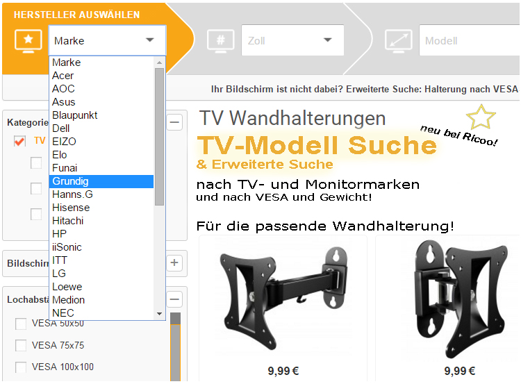 Passende Wandhalterung finden - Ricoo TV Modell- und VESA-Suche auf ricoo.eu